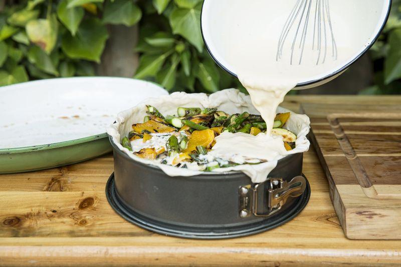 Quiche aus gegrilltem Gemüse mit Gorgonzola