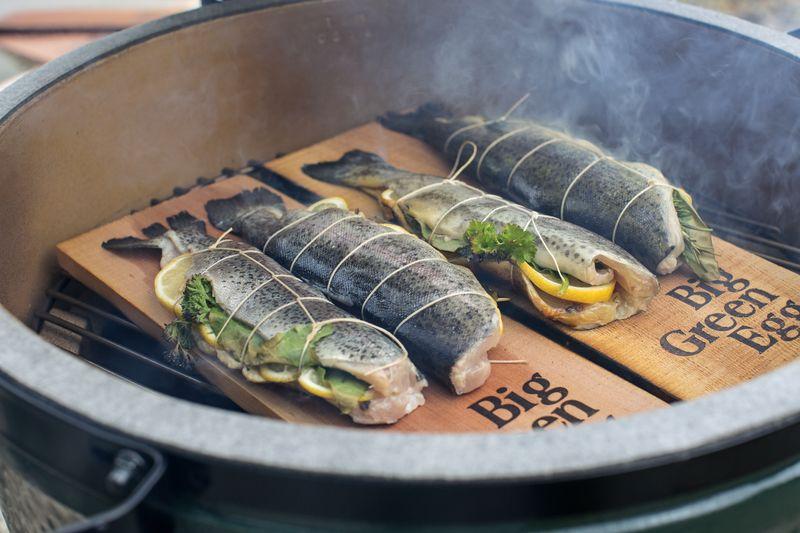 Bachsaibling im Speckmantel auf der Planke im Grill