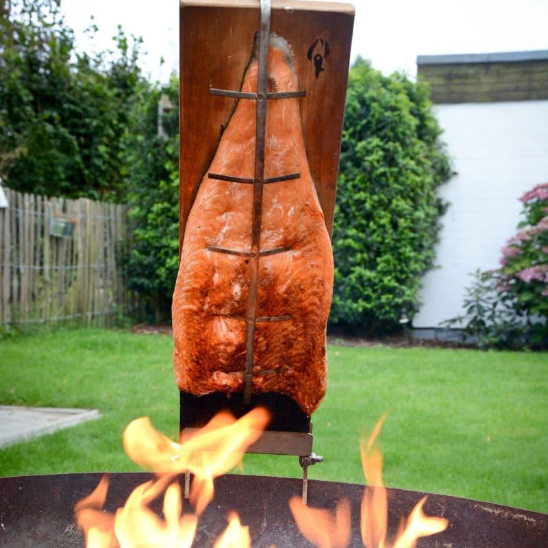 Lachs auf Holzbrett gespannt über dem Lagerfeuer